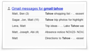 Gmail Conversations alongside Search Results