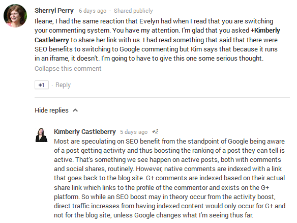 Kimberly Castleberry explains SEO benefit of Google+ Comments