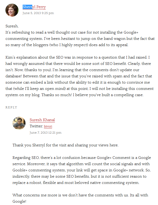 Suresh Khanal explains SEO benefit of Google+ Comments