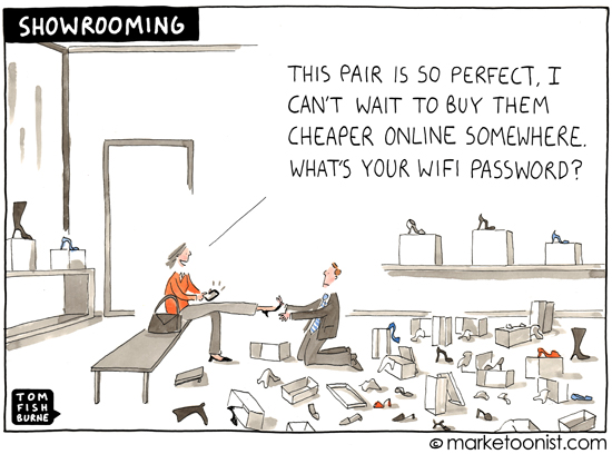 Showrooming Cartoon by Tom Fishburne, Marketoonist.com