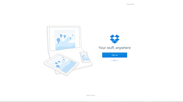 DropBox Flat Website Design Example
