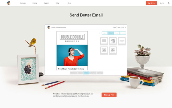 Mail Chimp Flat Website Design Example