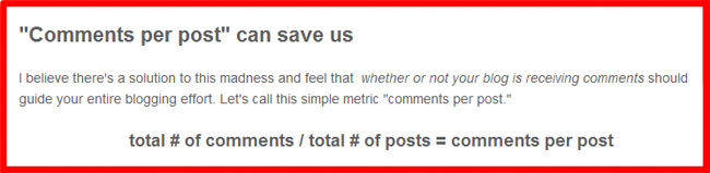 Comments per Post Can Save Us