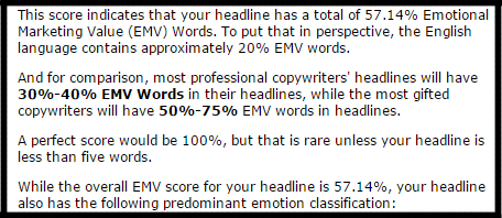 The EMV headline analyzer tool from the AMI
