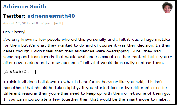 Comment from Adrienne Smith