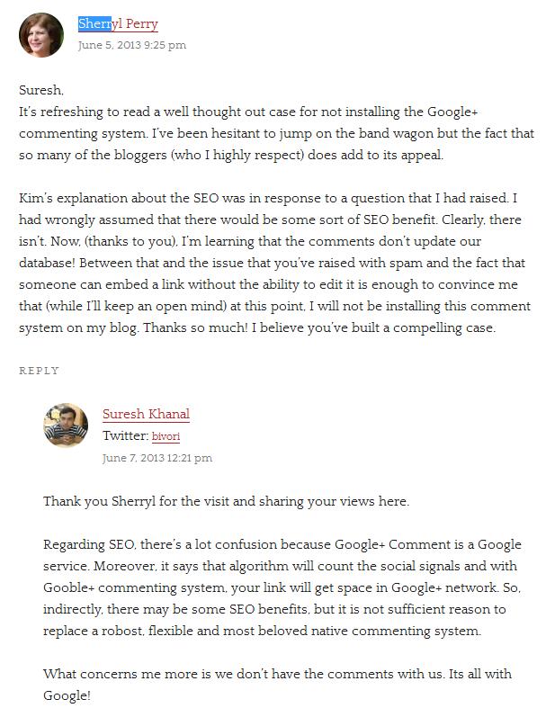 Suresh Khanal explains SEO benefit of Google+ Comments