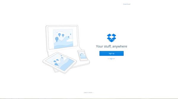 DropBox Flat Website Design Example
