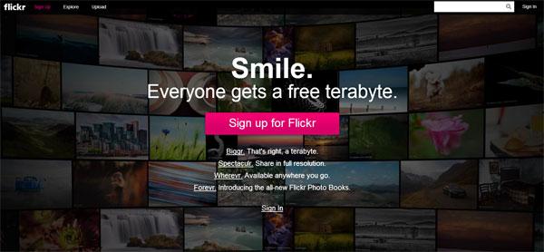 Flickr.com Flat Website Design Example