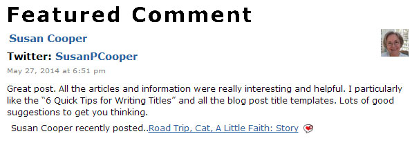 Feature Comments from Your Blog Readers