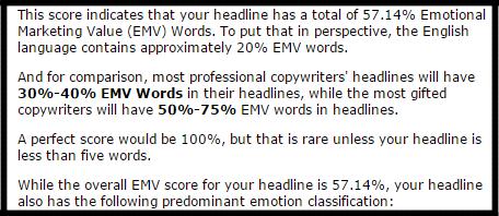 The EMV headline analyzer tool from the AMI