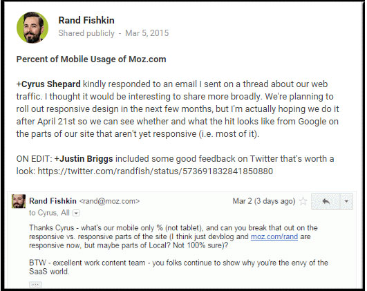 Rand Fishkin of Moz.com Discussion on Mobile Responsiveness