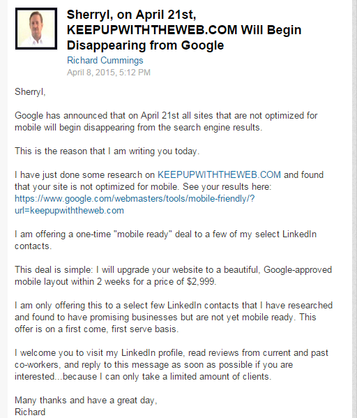 An unsolicited LinkedIn email to capitalize on #Mobilgeddon